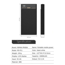 Load image into Gallery viewer, Remax Proda Pd-P11 Dual Usb 10,000mah Mini Power Bank Digital Display