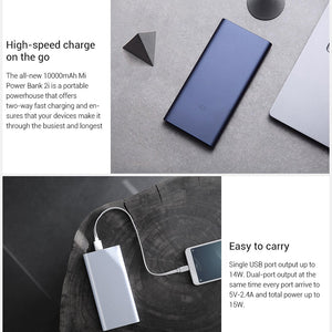 Xiaomi Power Bank Mi 10000 Mah 2i Dual USB Portable Charger Fast Charge 18W External Battery Powerbank for Android and IOS Phone