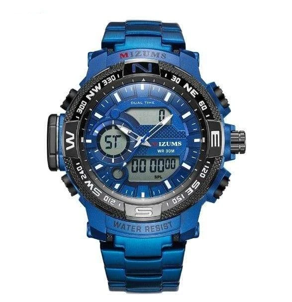 Men LED Digital Sports Quartz Watches Waterproof Stainless Steel