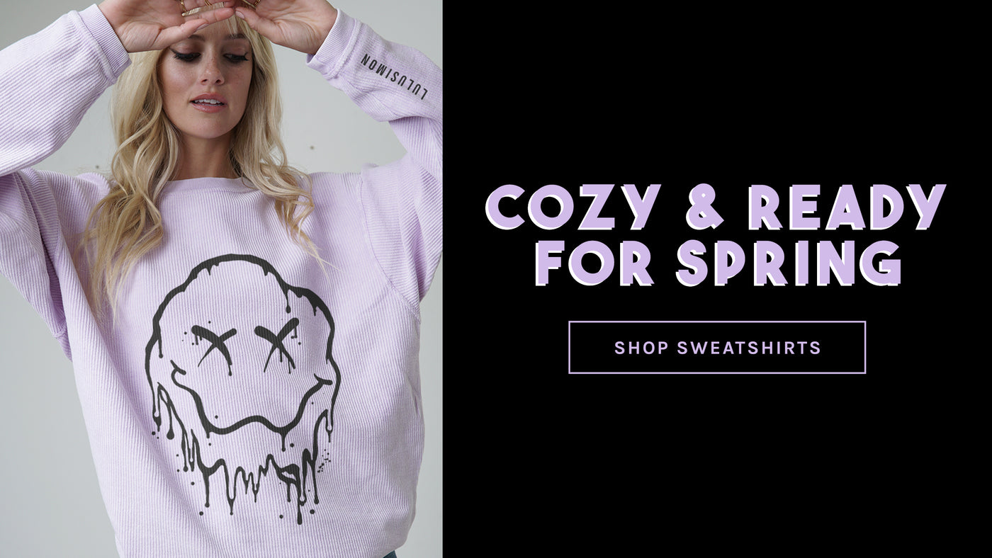 Cozy & ready for spring featuring GG in the X Smiley Face Corded BF Sweatshirt