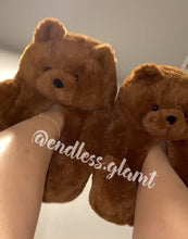 Load and play video in Gallery viewer, Teddy Bear Slippers | Brown