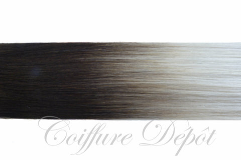 Kathleen keratin hair extensions 20-22 inches color : T1B-SILVER