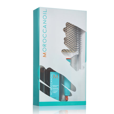 Moroccanoil Treatment Oil and ceramic paddle brush kit