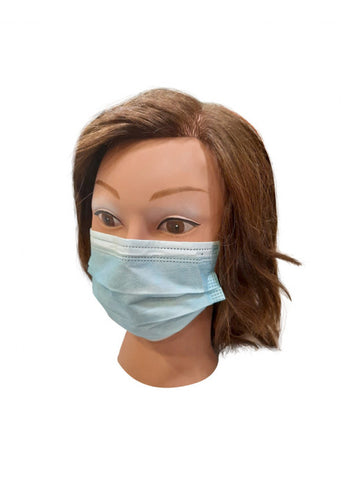 Disposable protective face mask blue individually