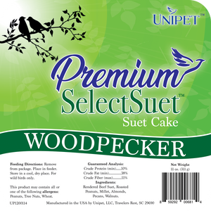 Unipet Premium Select Suet Ultimate Woodpecker Wild Bird Food 11 oz.