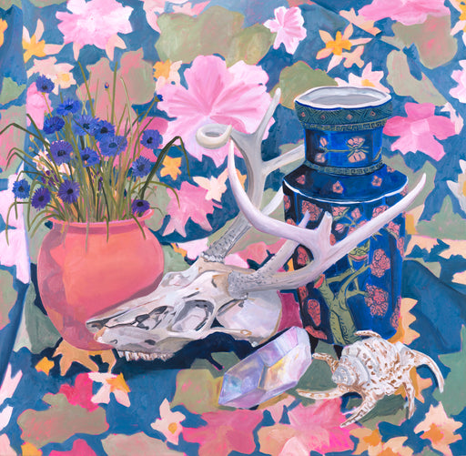 "Anna Valdez - ""Deer Skull with Blue Vase"" print"