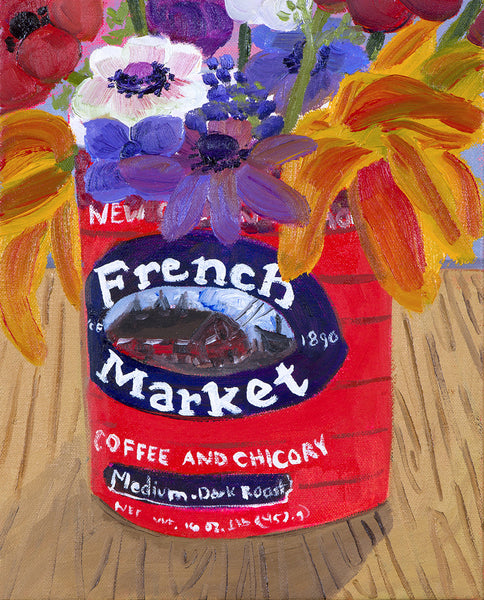 """Garden Flowers in French Market Can"""