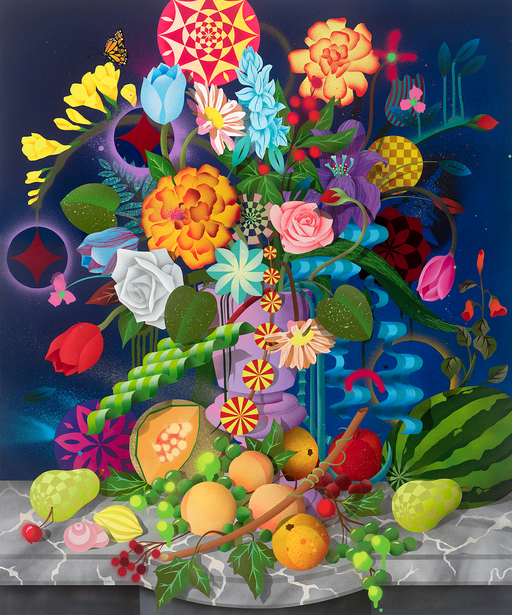 "Casey Gray - ""Still Life With Fruits and Flowers"" print"