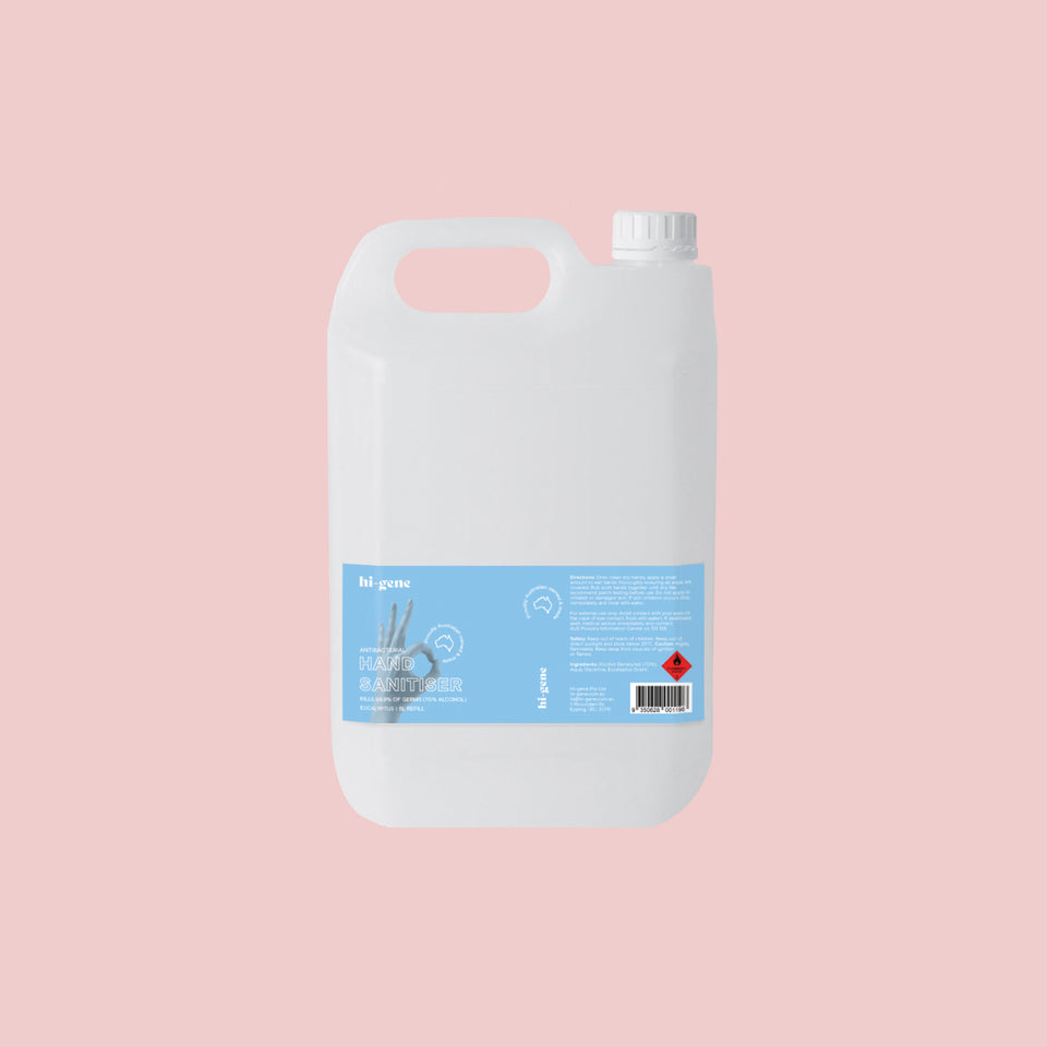 5L HI-GENE Antibacterial Hand Sanitiser (70% Alcohol) Refill with Twist Cap