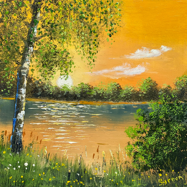Sunset on the River (Закат на Реке) - 5x5""