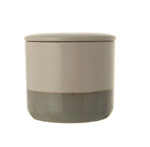 White and Gray Stoneware Canister