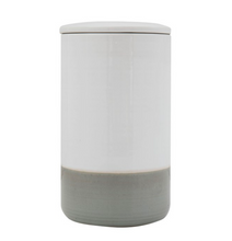 Load image into Gallery viewer, White and Gray Stoneware Canister