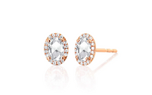 Load image into Gallery viewer, Diamond & White Topaz Oval Stud Earring
