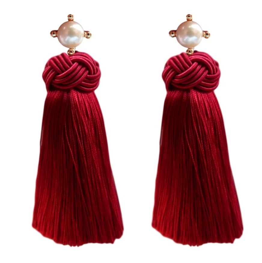 Pearl Tassel Earrings, Crimson