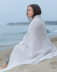 Cozy Chic Ribbed Throw, Almond