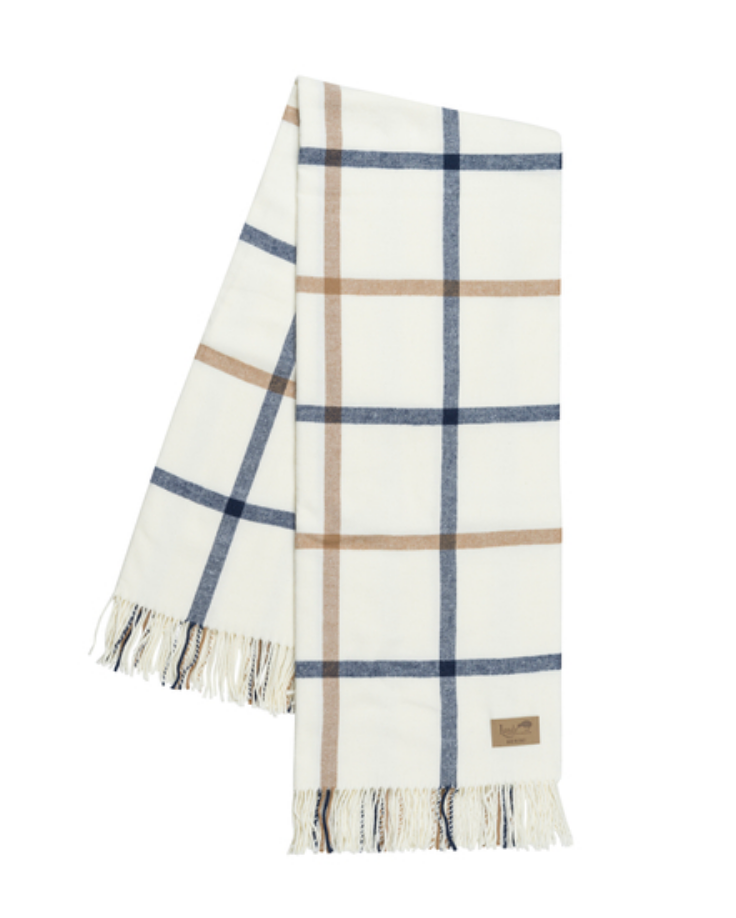 Navy & Caramel Tattersall Plaid Throw