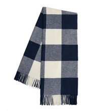 Load image into Gallery viewer, Navy Buffalo Check Throw