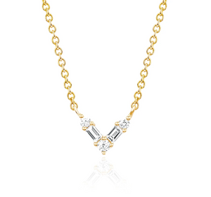 Diamond Baguette Mini Chevron Necklace
