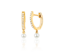 Load image into Gallery viewer, Diamond Mini Huggie With Pearl Drop Earring