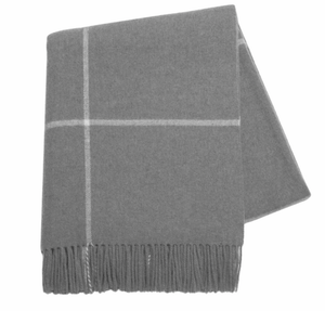 Cashmere Windowpane Throw, Gray