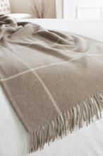 Load image into Gallery viewer, Cashmere Windowpane Throw, Taupe