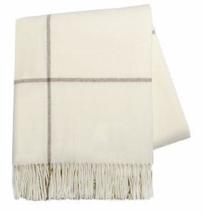 Cashmere Windowpane Throw, Ecru