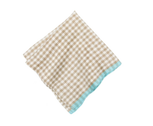 Gingham Napkin Set, Natural/Aqua