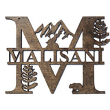 Woodland Monogram sign Dark Walnut