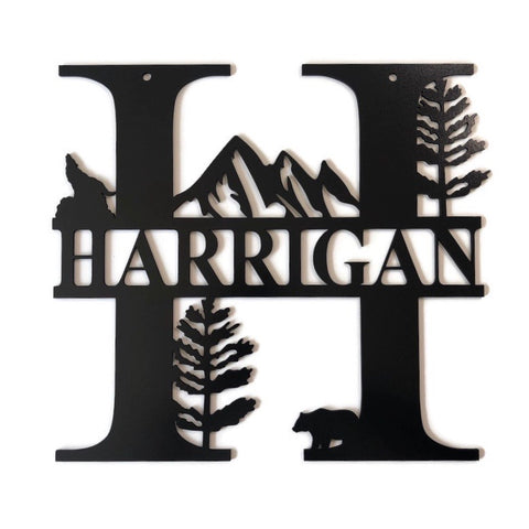 Woodland Monogram Sign Black