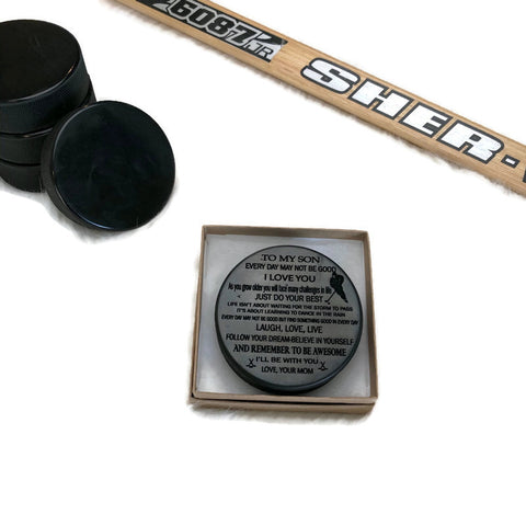 Engraved Hockey Puck to Player love mom
