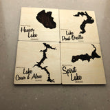 Engraved wood lake coasters - North Idaho - Idahome - lake life - gift set