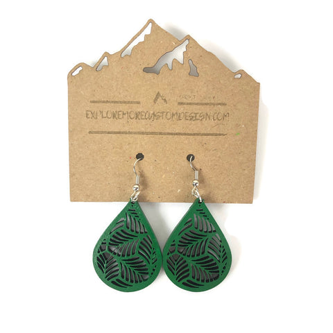 Banana Leaf hand painted basswood earrings