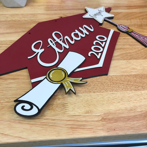 Graduation Cap Door Hanger Sign