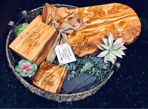 Engraved olive wood cutting boards