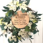 Virtual Learning Wine Door hanger sign
