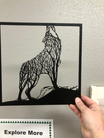 Wolf tree silhouette wall art