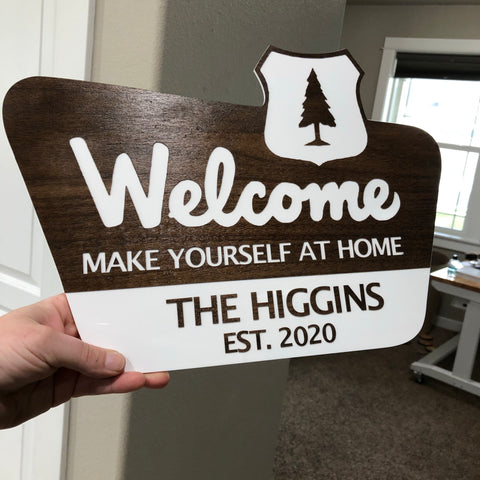 National Parks inspired welcome sign - wilderness - outdoorsy - house - hiker