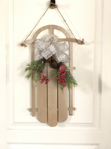 Sled door hanger - decorations - Christmas porch - door decorations - not a wreath