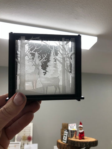 Elk shadow box coasters