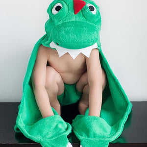 Plush Terry Hooded Bath Towel Devin the Dinosaur - from Kicks to Kids