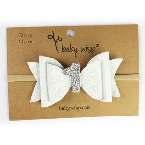 First Birthday Headband - White Glitter - from Kicks to Kids