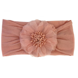 Nylon Headwrap with Flower - Dusty Rose - from Kicks to Kids