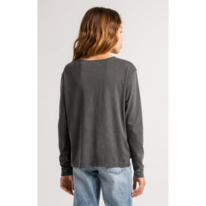 Mina Organic Long Sleeve Tee Washed Grey - from Kicks to Kids