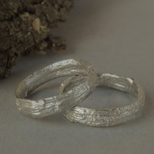 Load image into Gallery viewer, Set of two silver tree bark wedding band ring
