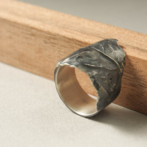 Black Leaf ring in oxidized silver.