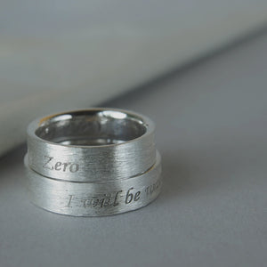 Ash Wedding bands in silver. Set of two silver rings with ashes.
