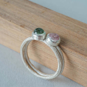 Stackable silver ring with pink stone