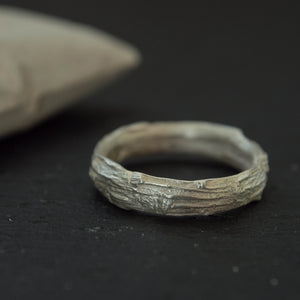 Set of two silver tree bark wedding band ring