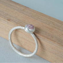 Load image into Gallery viewer, Stackable silver ring with pink stone