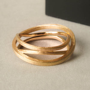 Stages ring. Rose gold geometric ring for women